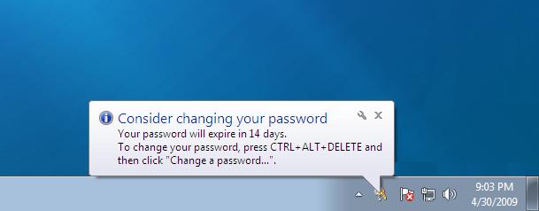 Windows  Home Password Expiry Policy